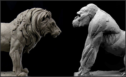 Biotipos, animais, roupas e acessórios - Biotipo(corpo forte e gordo), animais(Gorila e Leão), vestimentas e acessórios.